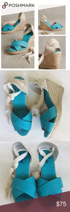 "{Anthropologie} Pinaz Open Toe Espadrilles {Anthropologie} Pinaz Open Toe Espadrilles. Gorgeous summer staple. Turquoise color. Ankle ties. Cotton upper and insole. Raffia wrapped heel. Heel height approx 3.75"". Size 37, 38, 39 available. New with box! #1076 Anthropologie Shoes Espadrilles"