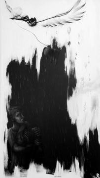 skullpellartwork.com, Steve Bauer, Skullpell Artwork, dark art, Leipzig, Der schwarze Storch, black stork, Gemälde, Acryl auf Leinwand, acrylic painting, airbrush, black and white, schwarz weiß, malerei, horror, makaber, macabre, Trauer, sorrow, dead babies, Luftballon, balloon, crying, despair