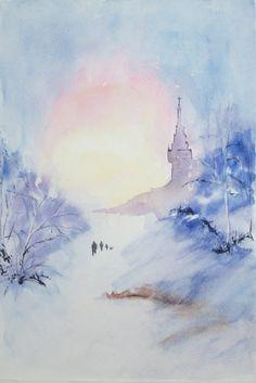 Silent Night Holy Night / Watercolor Painting Winter by ArtZTeneva