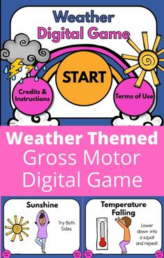 Are you looking to add some movement into your students day? This weather gross motor digital game is SO much fun! Perfect to use during your weather unit! Perfect gross motor activity to use in preschool, kindergarten, elementary classroom, physical therapy, physical education, occupational therapy or at home!
