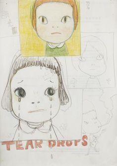YOSHITOMO NARA Tear Drops , c. 2002 Graphite and coloured pencil on paper. 29.5 x 21 cm. (11 5/8 x 8 1/4 in).