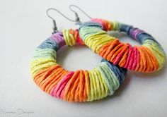 Rainbow colored hemp wrapped earrings Urban by NeemaDesigns413. $12.50, via Etsy.