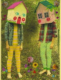 "House heads from the ""Homebodies"" series by Justin Wallis aka Milkbbi #mask #masque #maschera #mascara #weird #green - Carefully selected by GORGONIA www.gorgonia.it"