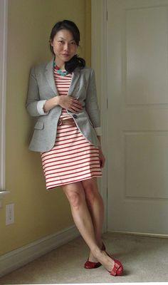 Red stripes and gray blazer