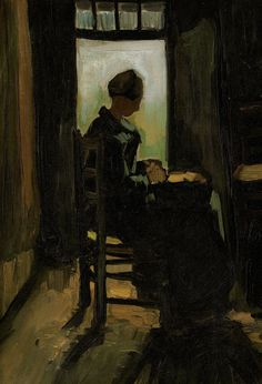"https://www.facebook.com/VincentvanGogh.MiaFeigelson.Gallery ""Woman seated before an open door, peeling potatoes"" (Nuenen. March 1885) [F 73] By Vincent van Gogh, from Zundert, Netherlands (1853 - 1890) oil on canvas laid down on cradled paper; 36.5 x 25 cm; 14½ x 9¾ in Place of creation: Nuenen, Netherlands © Sold through Christie's, New York. November 3, 2010 for $962,500 (Sale 2352; Lot 75) Provenance: H. Doyer, Chailly-Lausanne, by 1977 http://www.christies.com/"