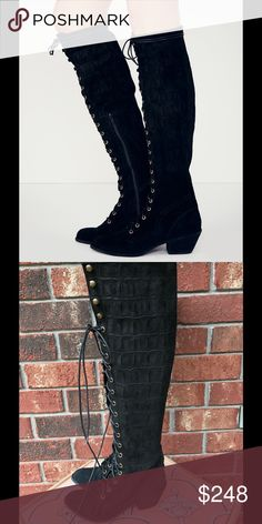 JEFFREY CAMPBELL x FREE PEOPLE Joe Tall Croc Boot New without box! Jeffrey Campbell Shoes Lace Up Boots