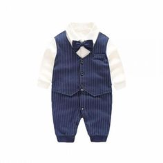 * Faux three piece<br /> * Snaps from leg to collar<br /> * Material: 50% Cotton, 50% Polyester<br /> * Machine wash, tumble dry<br /> * Imported<br /> <br /> With faux three piece and a bow to offer a playful and dapper look. Snaps from leg to collar promote easy-peasy changes, while a cotton-blend fabric keeps little cutie snug all day.