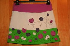 A line handmade women's skirt with colorful flowers applique, mini skirt size M / L, OOK skirt, customisable
