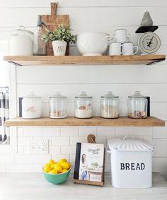 53 Ideas Kitchen Fixer Upper Cabinets Open Shelves For 2019 - Kitchen Ideas Layout Design, Fixer Upper Kitchen, Open Cabinets In Kitchen, American Kitchen, Cottage Kitchens, Cottage Kitchen Shelves, Kitchen Flooring, Open Shelving, Kitchen Remodel