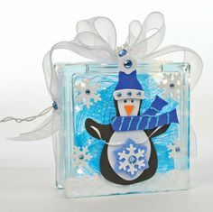 Snow Block with Penguin #glassblock #craft #christmas