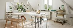 An interesting and fun mix of furniture, vintage finds and modern design.