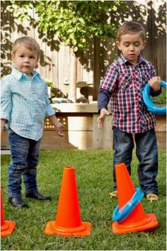 Construction Birthday Party Planning Ideas Supplies Idea Cake Ring toss with construction cones Construction Party Games, Construction Birthday Parties, 3rd Birthday Parties, Birthday Fun, Birthday Ideas, Birthday Banners, 1st Birthdays, Birthday Invitations, Construction Invitations