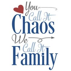 Silhouette Design Store: you call it chaos we call it family Sign Quotes, Cute Quotes, Funny Quotes, Family Is Everything, Family Love, Silhouette Design, Family Reunion Shirts, Family Reunions, Love My Kids
