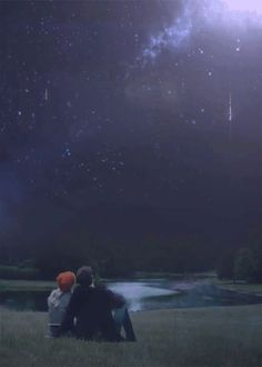 couple watching shooting stars in sky animation gif, By Tineke from Netherlands Photo Zen, Photo D Art, Estrela Gif, You Are My Moon, Falling Stars, Look At The Stars, Stargazer, Hopeless Romantic, Timeline Photos