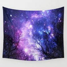 Black Trees Purple Blue Space Wall Tapestry
