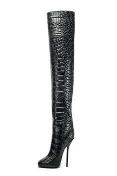 Emilio Pucci Black High Fashion Heeled Phyton Boots Fall Winter 2012 #Shoes #Heels