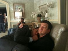 Jon Huertas and Nathan Fillion on the set of Castle - I love these guys!
