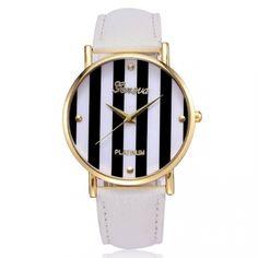 Reloj Geneva color blanco modelo Lines Platinum $6.000.-
