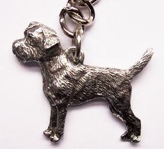 Border Terrier keyring made from finest pewter, available in UK.