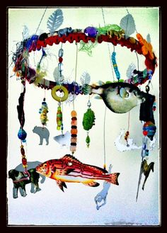 Hanging Mobile I made  -using the Circus and Fish themed Paper Cuts  -various washi tapes  all by Retro Cafe ART Gallery