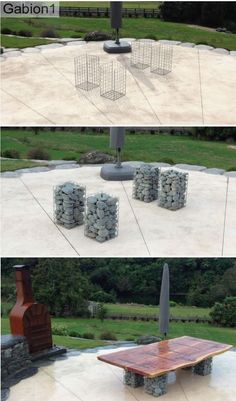 4 small gabions support this table base