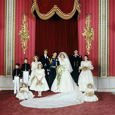 DIANA. AND CHARLES WITH HIS BROTHERS AND THE BRIDESMAIDS.