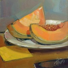 """""""Two slices of Melon"""" by Anna Tikhomirova oil, 6'' x 6'' inches"""