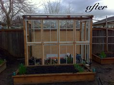 This greenhouse uses old wooden windows that you can pick up at the local dump, architectural salvage store, yard sale, or even in your alley. Farm Gardens, Outdoor Gardens, Outdoor Spaces, Outdoor Living, Old Window Panes, Urban Farmer, Urban Agriculture, Veg Garden, Garden Sheds
