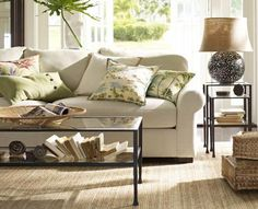 Room Decorating Ideas, Room Décor Ideas & Room Gallery | Pottery Barn.  Neutral, neutral, neutral -- with pops of color on the pillows. LOVE.