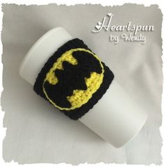 Cool Batman Coffee or Tea Cup Cozy with Batman Applique that can be made and sewn on to other projects as well! Check out my Batman EOS lip balm holder for a small and mini version of this Batman symbol as well! Crochet Coffee Cozy, Coffee Cup Cozy, Crochet Cozy, Cute Coffee Mugs, Crochet Crafts, Hand Crochet, Crochet Projects, Coffee Time, Free Crochet