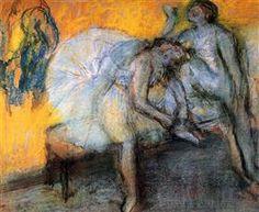 Two Dancers Resting Artwork By Edgar Degas Oil Painting & Art Prints On Canvas For Sale Edgar Degas, Pierre Auguste Renoir, Edouard Manet, Mary Cassatt, Gustav Klimt, Claude Monet, Rembrandt, Andy Warhol, Degas Paintings