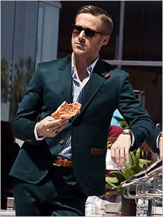 ryan gosling + crazy good dark green suit with leather accents (apparently its albert hammond jr. + Ilaria urbinati for confederacy with amazing givenchy sunglasses)