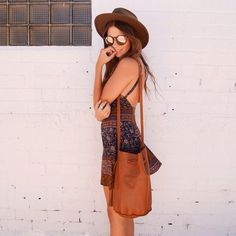 Brown and Blue Flared Dress, Brown Leather Bucket Bag, Brown Hat, Sunglasses... Summer Bohemian Rebel