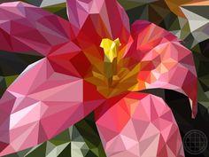 Blume in Omas Garten. Flower in Grandma's garden. Illustration von Tabea O. #lowpoly #polygon #illustration #graphicdesign #graphic #flower #poster