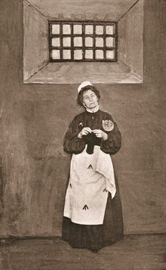 Emmeline Pankhurst in a cell in Holloway Prison, 1908