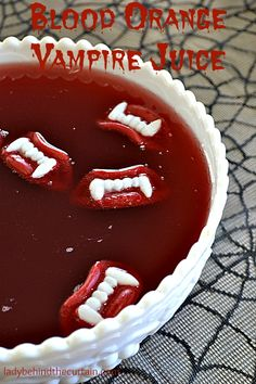 Blood Orange Vampire Juice Recipe -float wax fangs in it. Make extra and freeze in ice cube trays. That way your punch can stay cold without watering it down Vampire Halloween Party, Vampire Party, Halloween Cocktails, Halloween Goodies, Halloween Food For Party, Cute Halloween, Halloween Treats, Halloween Punch For Kids, Halloween Kitchen