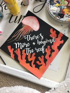 theres more beyond the reef, moana quote, disney painted marine bio major graduation cap