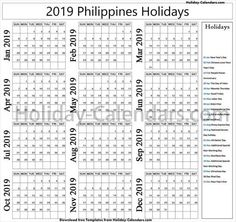 philippine calendar 2019 with holidays