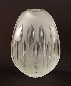 Heavy frosted clear glass vase GlassSchool with vertical cut lines vase design A.D.Copier 1947 executed by Glasfabriek Leerdam / the Netherlands