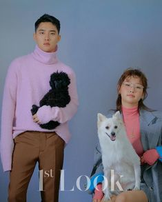 """EXO's D.O. and Park So Dam took part in a fun pictorial with their dogs! On January Look Magazine released photos of the """"The Underdog"""" co-stars and their dogs. Animation film """"The Underdog"""" is about the dog Moongchi whose life changes on. Korean Ootd, Exo Korean, Kyungsoo, Korean Couple Photoshoot, Divas, New Animation Movies, Park So Dam, Look Magazine, Exo Do"""