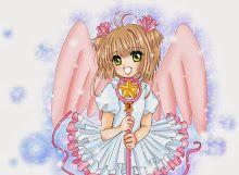 #Ahoge, #BlondeHair, #Choker, #Dress, #GreenEyes, #Happy, #MahouShoujo, #Ribbon, #TwinTails, #Wand, #Wings
