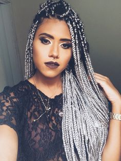 Box braids #grey #afrohair