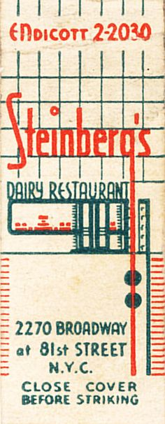 Steinberg's Dairy Restaurant by jericl cat, via Flickr