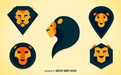Set of lion heads illustrations in different polygonal and geometric shapes and…