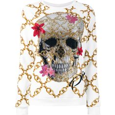 Philipp Plein skull and chain sweatshirt (€1.055) ❤ liked on Polyvore featuring tops, hoodies, sweatshirts, white, rhinestone sweatshirts, logo top, ribbed top, white ribbed top and round neck sweatshirt