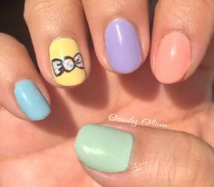 Pastels, Polka Dots, and Bows = Spring Nails