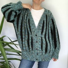Vintage Hand Knitted Oversized Turquoise Cardigan One Size Mohair Blend Turquoise Cardigan, Pom Pom Trim, 40s Fashion, Boho Festival, Gwen Stefani, Padded Jacket, Cosy, Knits, Hand Knitting