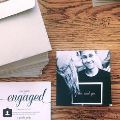 """Pleased to have done this awesome couple's stationery for their engagement! @breeholland you and josh are amazing! #engagement #design #invites #wedding #stationery #creative #simple"""