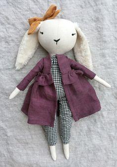 'Lapine Elena' Handmade Linen Bunny by lespetitesmainss on Etsy