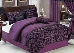 11 Piece King Purple and Black Floral Flocked Bed in A Bag Set.